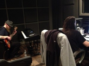Chris and Matt adding a bass track to White Dove